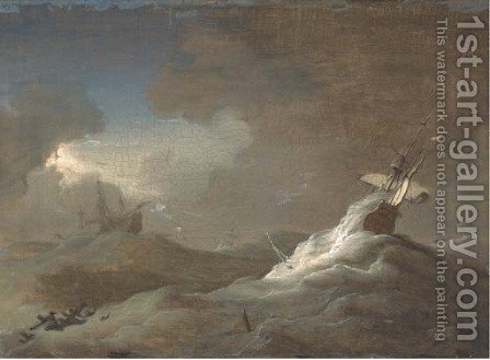 Shipping in stormy seas by (after) Willem Van De, The Younger Velde - Reproduction Oil Painting