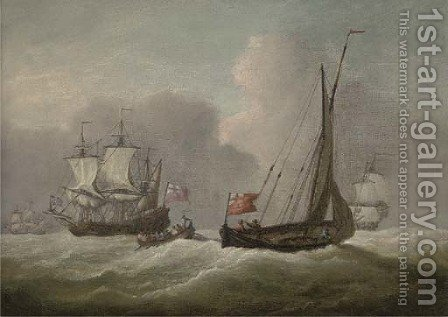 Warships in the Channel in a heavy swell by (after) Willem Van De Velde - Reproduction Oil Painting