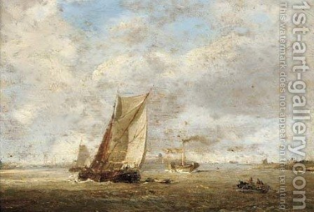 Barges and a paddlesteamer at the harbour mouth by (after) William Anderson - Reproduction Oil Painting