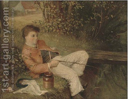 Lazy day fishing by (after) William Bromley III - Reproduction Oil Painting