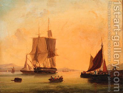 Shipping off the coast; and Shipping at anchor by (after) William Calcott Knell - Reproduction Oil Painting