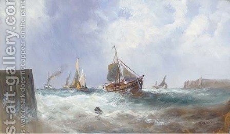 Fishing vessels in a squall; and Fishing vessels returning home by (after) William Calcott Knell - Reproduction Oil Painting