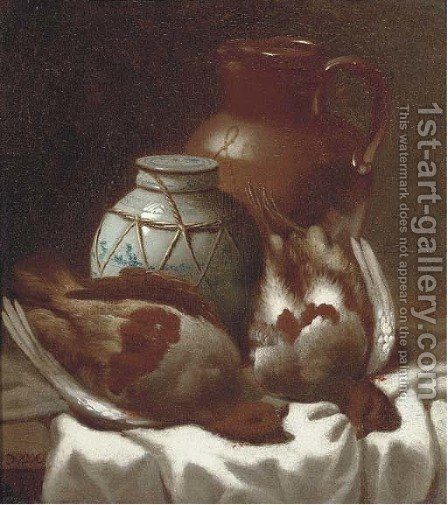 Partridge with a jar and a jug by (after) William Cruicshank - Reproduction Oil Painting