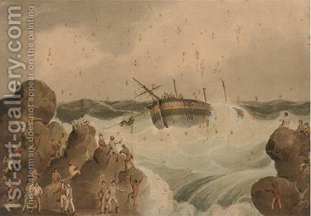Salvaging the wreck by (after) William Daniell - Reproduction Oil Painting