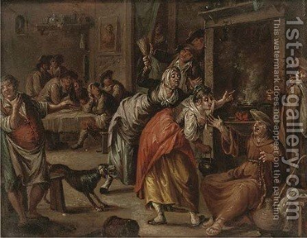 A monk drunk in a tavern by (after) William Hogarth - Reproduction Oil Painting