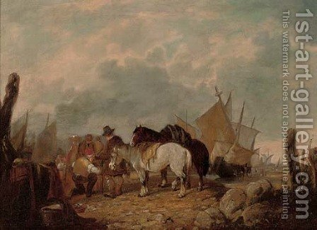 A busy day on the beach by (after) William Joseph Shayer - Reproduction Oil Painting