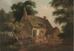 Countrymen and animals before a thatched cottage