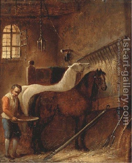 Feeding the horses by (after) Wouter Verschuur - Reproduction Oil Painting