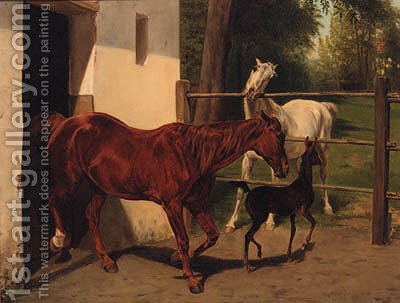 Mares with a Foal by (after) Wouter Verschuur - Reproduction Oil Painting