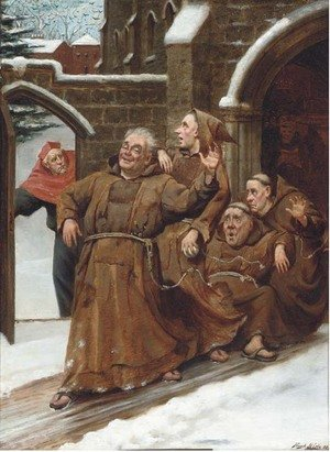 Reproduction oil paintings - Frank Hide - Friar's frolics