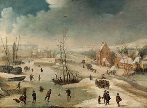 A village in winter with figures skating on a frozen river
