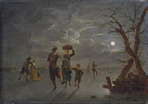 A moonlit winter landscape with skaters on a frozen river