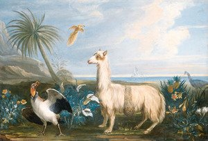 Famous paintings of Llamas: A Lama, a Dodo and other exotic Birds in a Tropical Landscape