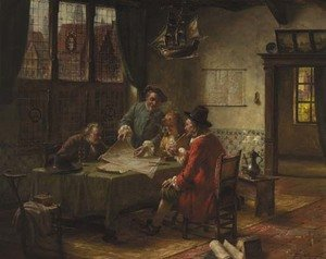 A Dutch seventeenth century interior with gentlemen discussing a naval chart around a table