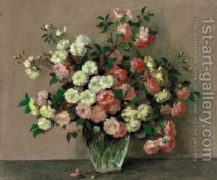 Pink And White Roses In A Vase On A Table by Alexandre Gabriel Decamps - Reproduction Oil Painting