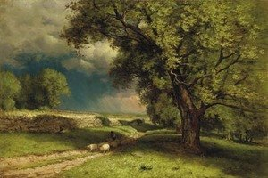 Reproduction oil paintings - George Inness - Landscape with Sheep 2