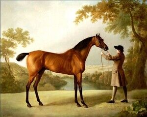 Famous paintings of Trees: Tristram Shandy, a bay racehorse held by a groom, in an extensive landscape