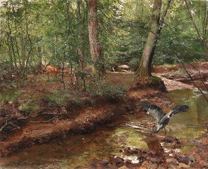 Reproduction oil paintings - German School - Forest wildlife