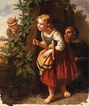 Reproduction oil paintings - German School - Hide and seek