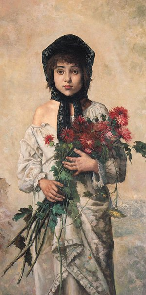 Reproduction oil paintings - German School - Portrait of a young Girl holding red Chrysanthemums