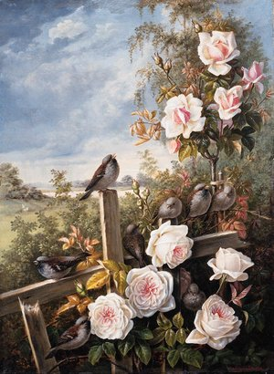 Reproduction oil paintings - German School - Roses with Sparrows pearched on a Fence in a Landscape