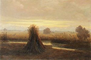 Reproduction oil paintings - German School - Twilight landscape