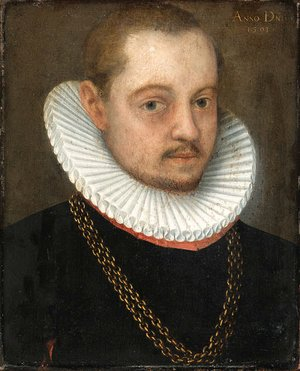 Reproduction oil paintings - German School - Portraits of a Gentleman small bust length, in black dress with white ruffs and gold chains
