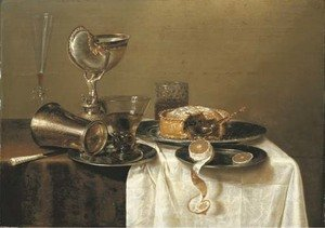Famous paintings of Desserts: An overturned silver tumbler and a roemer on a pewter plate, a facon-de-Venise wineglass, a nautilus cup, a pie and a partly-peeled lemon