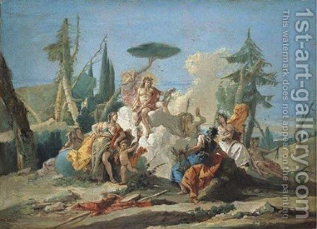 Apollo receiving Homage from the Muses - a modello by Giovanni Battista Tiepolo - Reproduction Oil Painting