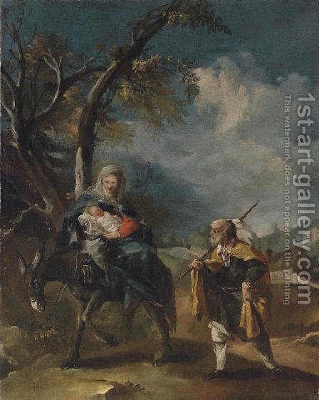 The Flight into Egypt by Giovanni Antonio Guardi - Reproduction Oil Painting
