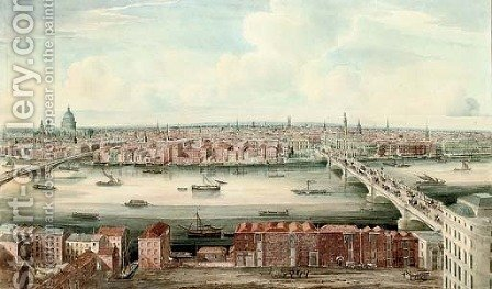 A panorama of the Thames up river from London Bridge by Gideon Yates - Reproduction Oil Painting