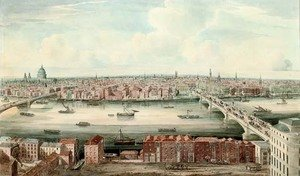 Reproduction oil paintings - Gideon Yates - A panorama of the Thames up river from London Bridge
