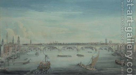 Gideon Yates: Southwark Bridge from the Thames - reproduction oil painting