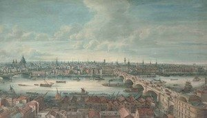 Gideon Yates reproductions - View of the River Thames with Blackfriars Bridge, St Paul's, London Bridge and the Monument