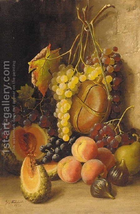 Grapes, peaches, figs, a melon and a wine flask against a wall by Giuseppe Falchetti - Reproduction Oil Painting