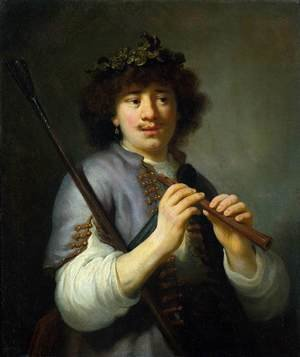 Reproduction oil paintings - Govert Teunisz. Flinck - Rembrandt as Shepherd with Staff and Flute c. 1636