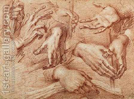 Eight studies of hands, one holding a stick, another a cross or book by Giovanni Battista Crespi (Cerano II) - Reproduction Oil Painting