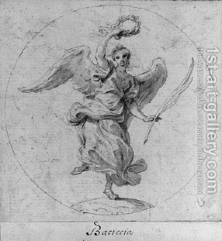 Victory Design for the obverse of a medal dedicated to Queen Christina of Sweden; and Virtue subduing Evil Design for the obverse of a medal dedicat by Giovanni Battista (Baciccio) Gaulli - Reproduction Oil Painting