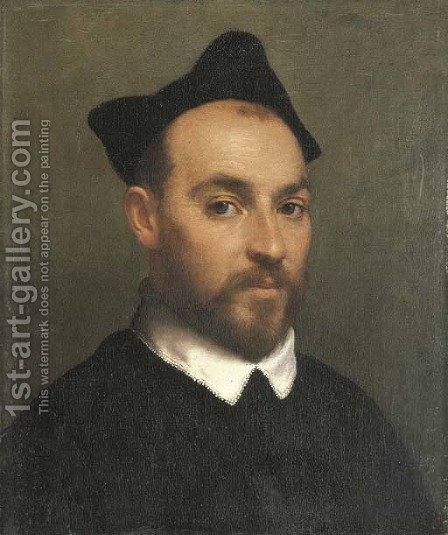 Portrait of a priest, bust-length by Giovanni Battista Moroni - Reproduction Oil Painting