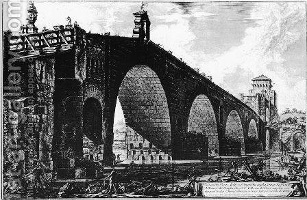 The Ponte Molle, from Vedute di Roma by Giovanni Battista Piranesi - Reproduction Oil Painting