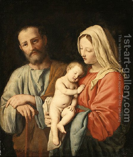 The Holy Family by Giovanni Battista Salvi, Il Sassoferrato - Reproduction Oil Painting