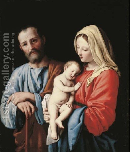 The Holy Family 3 by Giovanni Battista Salvi, Il Sassoferrato - Reproduction Oil Painting