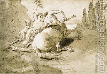 A centaur garlanded by a satyress and a faun by Giovanni Domenico Tiepolo - Reproduction Oil Painting