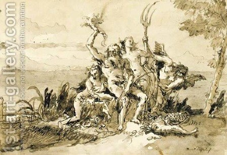 Neptune, Amphitrite and Time with a nereid by Giovanni Domenico Tiepolo - Reproduction Oil Painting