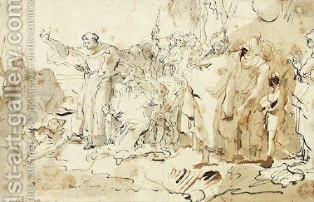Saint Anthony of Padua preaching to the Fishes on the Beach at Rimini by Giovanni Domenico Tiepolo - Reproduction Oil Painting
