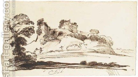 An extensive landscape with a ruined fort on a hill by Giovanni Francesco Guercino (BARBIERI) - Reproduction Oil Painting