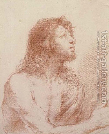 Saint John the Baptist, half-length, looking up to the right, holding a bowl by Giovanni Francesco Guercino (BARBIERI) - Reproduction Oil Painting