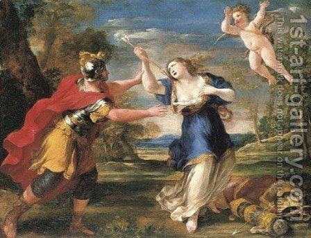 Rinaldo and Armida by Giovanni Francesco Romanelli - Reproduction Oil Painting