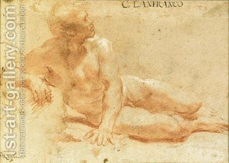 A reclining nude in profile to the right by Giovanni Lanfranco - Reproduction Oil Painting