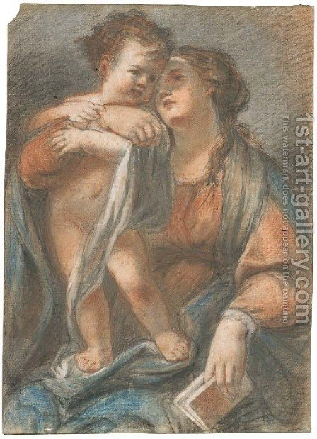 The Madonna holding the Infant Christ standing on her lap by Giovanni Maria Viani - Reproduction Oil Painting